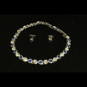 Vtg. Avon Blue & White Sapphire Bracelet/Earrings